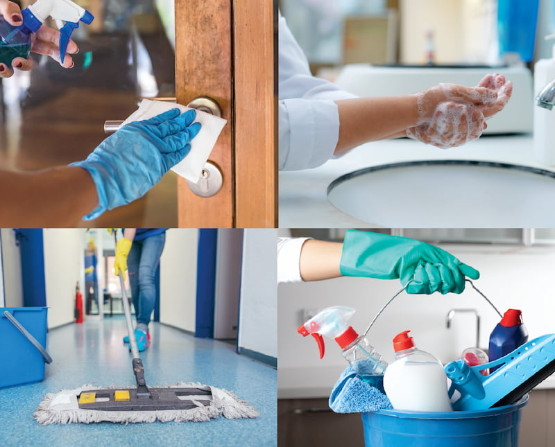 Four images of cleaning a medical office.